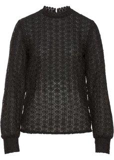 Кружевная блузка (черный) Bonprix
