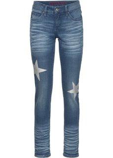 Джинсы-дудочки со звездами (синий «потертый») Bonprix