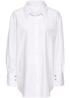 Рубашка-оверсайз с широкими манжетами (белый) Bonprix