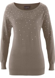 Длинный пуловер (серо-коричневый) Bonprix