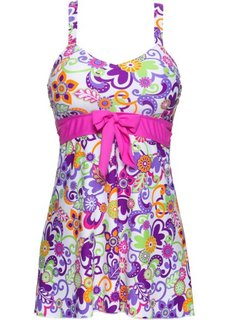 Купальное платье (белый/лиловый/ярко-розовый) Bonprix