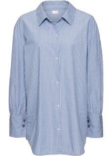 Рубашка-оверсайз с широкими манжетами (белый/нежно-голубой в полоску) Bonprix