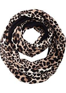 Вязаный шарф снуд с анималистским узором (леопардовый черный/светло-коричневый) Bonprix