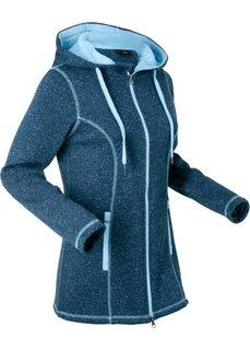 Вязаная флисовая куртка (темно-синий меланж) Bonprix