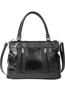 Кожаная сумка с плетеными деталями (черный) Bonprix