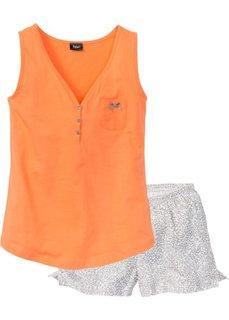 Пижама с шортами (персиковый/серый с принтом) Bonprix