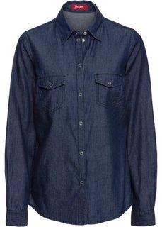 Джинсовая блузка с принтом (синий) Bonprix