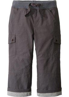 Утепленные брюки с карманами-карго (шиферно-серый/светло-серый меланж) Bonprix
