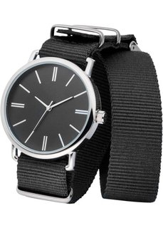 Часы на текстильном ремешке (черный/серебристый) Bonprix