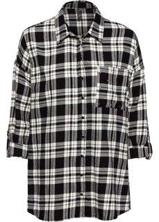 Блузка с заклепками (черный/бежевый в клетку) Bonprix
