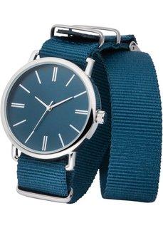 Часы на текстильном ремешке (сине-зеленый/серебристый) Bonprix