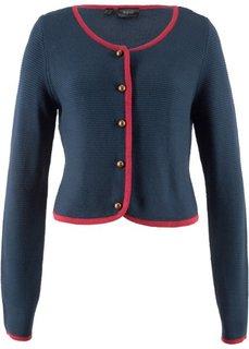 Короткая куртка в традиционном стиле и с длинным рукавом (полуночная синь/темно-красный) Bonprix