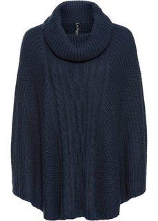 Вязаное пончо (темно-синий) Bonprix