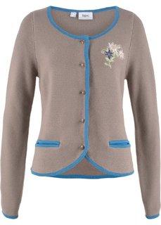 Куртка в традиционном баварском стиле с длинным рукавом и вышивкой (серо-коричневый/небесно-голубой) Bonprix