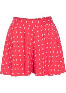 Быстросохнущая юбка-шорты с плавками (красный/белый в горошек) Bonprix