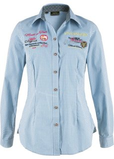 Блузка в традиционном стиле с длинным рукавом (белый/небесно-голубой в клетку) Bonprix