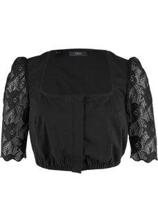 Блузка с кружевными рукавами к дирнделю (черный) Bonprix