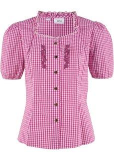Традиционная блузка с принтом и коротким рукавом (нежная фуксия/белый в клетку) Bonprix