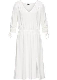 Платье со сборками (белый) Bonprix