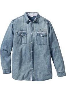 Джинсовая рубашка Regular Fit с длинным рукавом (нежно-голубой) Bonprix
