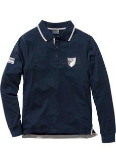 Футболка-поло Regular Fit с длинным рукавом (темно-синий) Bonprix