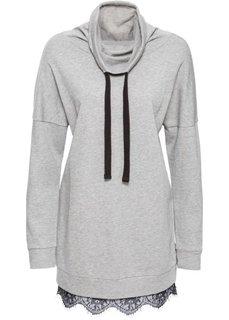 Свитшот с кружевом (светло-серый меланж/черный) Bonprix