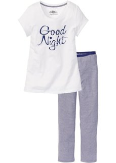 Пижама из органического хлопка (темно-серый/белый) Bonprix