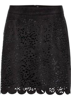 Мини-юбка из искусственной замши (черный) Bonprix