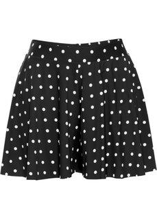 Быстросохнущая юбка-шорты с плавками (черный/белый в горошек) Bonprix