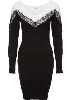 Вязаное платье с кружевной вставкой (черный/белый) Bonprix