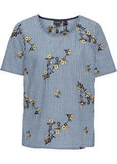 Блузка с вышивкой (темно-синий/белый в клетку) Bonprix