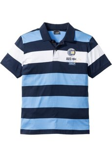 Полосатая футболка Regular Fit с воротником-поло (темно-синий/голубой/белый в полоску) Bonprix