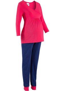 Пижама для будущих и кормящих мам (ярко-розовый/синий) Bonprix