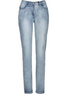 Стрейтчевые джинсы со стразами (голубой) Bonprix