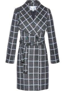Пальто из материала с содержанием шерсти (шиферно-серый/кремовый в клетку) Bonprix