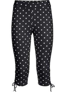 Быстросохнущие купальные брюки-капри (черный/белый в горошек) Bonprix
