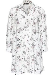 Длинная блузка оверсайз (кремовый/черный в цветочек) Bonprix