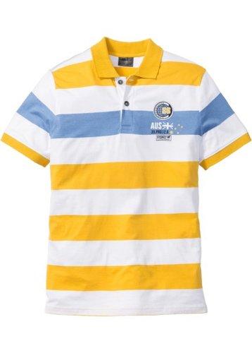 Полосатая футболка Regular Fit с воротником-поло (ярко-желтый/белый/голубой в полоску)