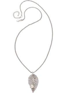 Длинная цепочка с кулоном в виде листа или жемчуга (серебристый) Bonprix