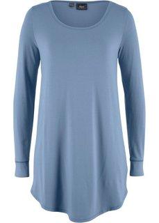 Удлиненная футболка с длинными рукавами (синий матовый) Bonprix