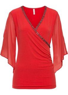 Блузка с блестящими камешками (ярко-красный) Bonprix