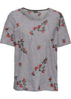 Блузка с вышивкой (черный/белый в клетку) Bonprix