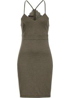 Платье с кружевной отделкой и вырезом на спине (оливковый) Bonprix