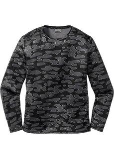 Функциональная футболка Slim Fit с длинным рукавом (черный с рисунком) Bonprix