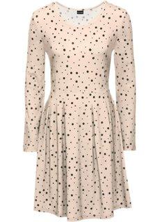 Трикотажное платье (розовый/черный в горошек) Bonprix