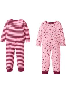 Пижама (4 изд.) (розовая пудра/красная ягода) Bonprix