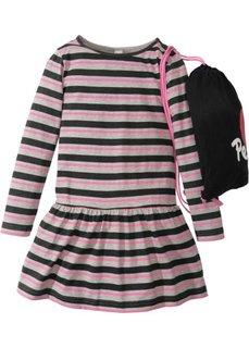 Полосатое платье + сумка для сменной обуви (2 изд.) (черный/белый/ярко-розовый в полоску) Bonprix