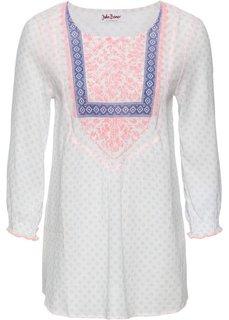 Туника с принтом и рукавом 3/4 (цвет белой шерсти/нежный ярко-розовый с рисунком) Bonprix