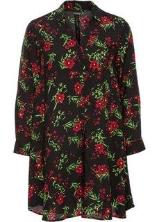 Длинная блузка оверсайз (черный/красный в цветочек) Bonprix