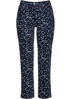 Стрейтчевые брюки длины 7/8 со звездным принтом (темно-синий/белый с рисунком) Bonprix